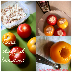 tuna stuffed tomatoes collage